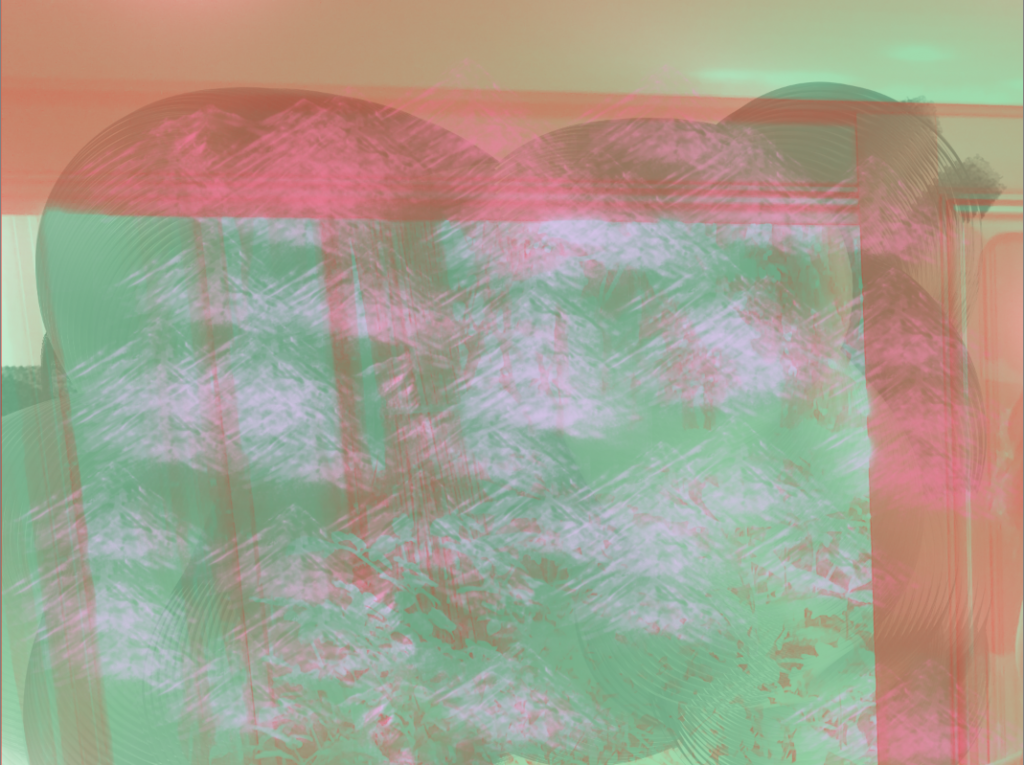 A Krita painting composed of several layers with green, red and light purple colouring.